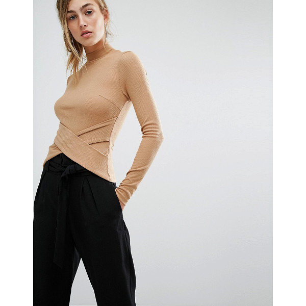 PARALLEL LINES High Neck Top With Wrap Front Detail - Top by Parallel Lines, Stretch knitted fabric, Ribbed...