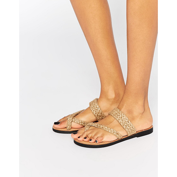 PARK LANE Woven Toepost Flat Sandals - Shoes by Park Lane, Leather fabric, Plaited, toe post...