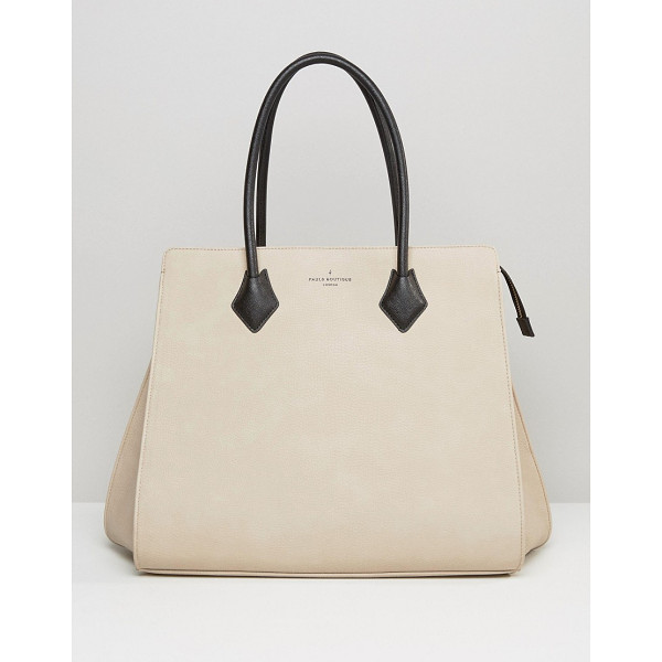PAULS BOUTIQUE Coco Structured Tote in Nude - Cart by Paul's Boutique, Faux-leather outer,...