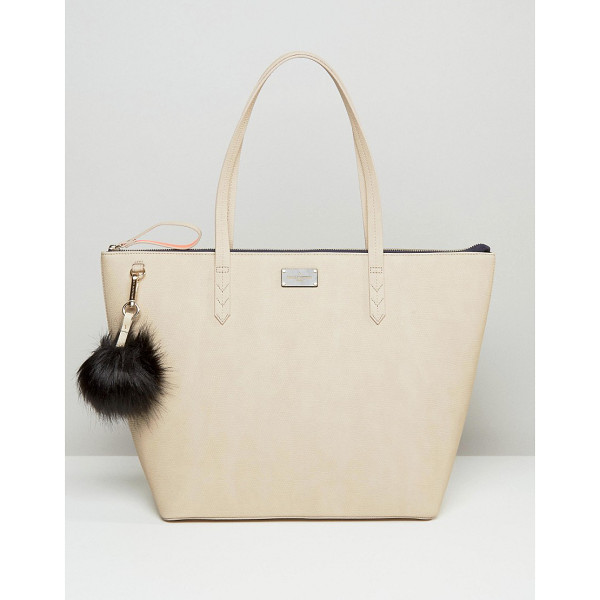 PAULS BOUTIQUE Conner croc tote in nude with fur pom - Cart by Paul's Boutique, Faux-leather outer,...