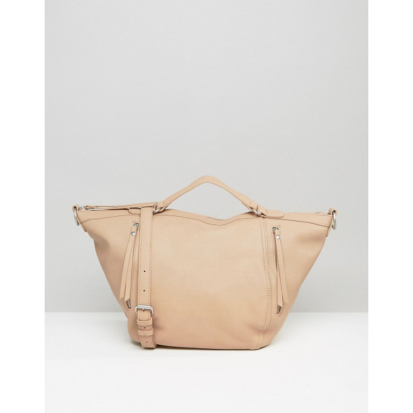 PIECES Slouchy Winged Tote Bag in Blush - Cart by Pieces, Faux-leather, Fully lined, Twin handles,