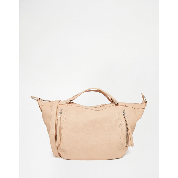 PIECES Slouchy winged tote bag in blush - Cart by Pieces Faux leather outer Twin handles Zip top...