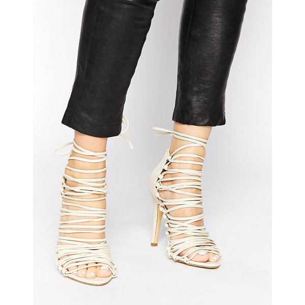 PIECES Sophie Nude Multi Strap Heeled Sandals - Heels by Pieces, Smooth matte leather-look upper, Zip...