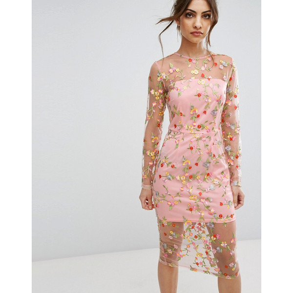 "PRETTYLITTLETHING Embroidered Sheer Midi Dress - """"Dress by PrettyLittleThing, Partially lined sheer mesh,..."