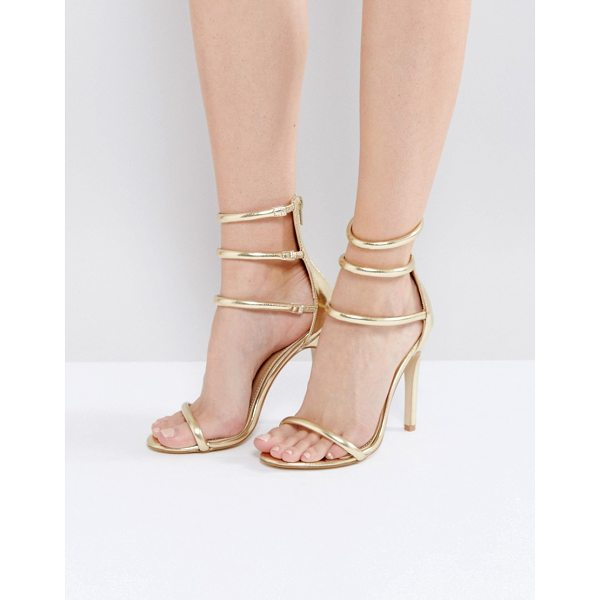 "PUBLIC DESIRE Aisha Gold Strappy Heeled Sandals - """"Sandals by Public Desire, Faux-leather upper, Metallic..."