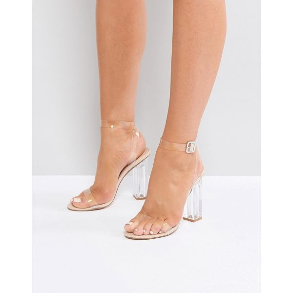 PUBLIC DESIRE Alia Perspex Heeled Sandals - Sandals by Public Desire, Clear upper, Ankle-strap...