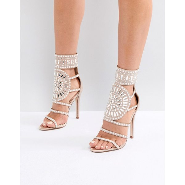"""PUBLIC DESIRE Cleopatra Embellished Heeled Sandals in Rose Gold Satin - """"""""Heels by Public Desire, Metallic upper, Ankle strap and..."""