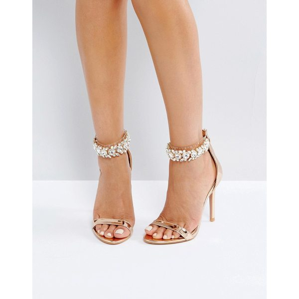 "PUBLIC DESIRE Fiji Rose Gold Crystal Ankle Heeled Sandals - """"Heels by Public Desire, Metallic upper, Embellished ankle..."