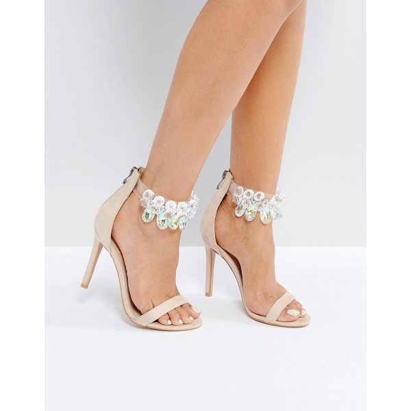 "PUBLIC DESIRE Galaxy Embellished Ankle Heeled Sandals - """"Heels by Public Desire, Faux-leather upper, Embellished..."