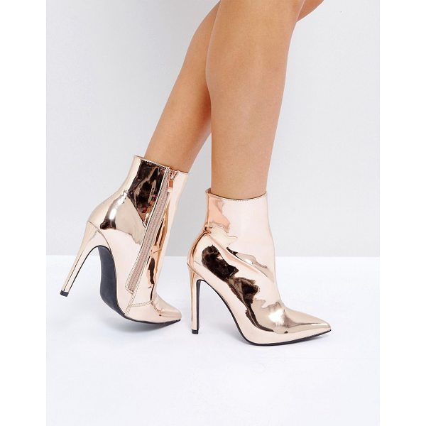 "PUBLIC DESIRE Harlee High Shine Rose Gold Heeled Ankle Boots - """"Boots by Public Desire, Smooth upper, High-shine finish,..."