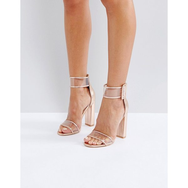 "PUBLIC DESIRE Mission Rose Gold Clear Strap Block Heeled Sandals - """"Sandals by Public Desire, Faux-leather upper, Metallic..."
