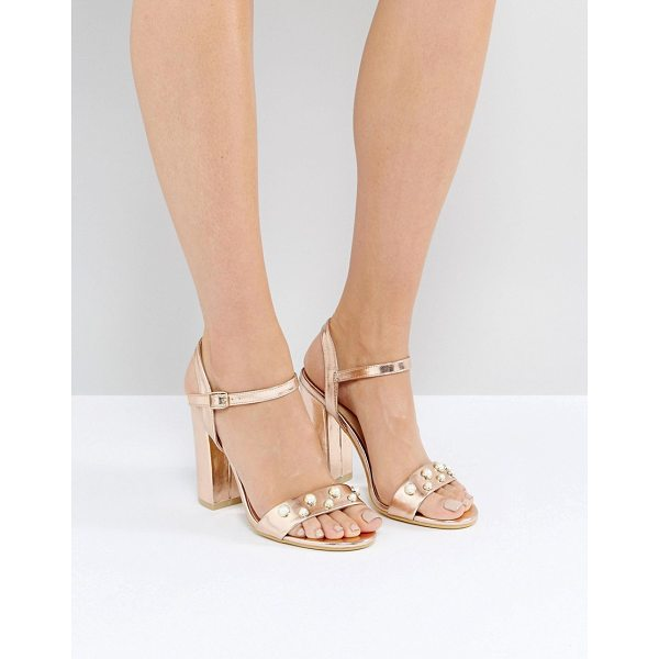 "PUBLIC DESIRE Oklahoma Rose Gold Pearl Detail Heeled Sandals - """"Heels by Public Desire, Faux leather upper, Metallic..."