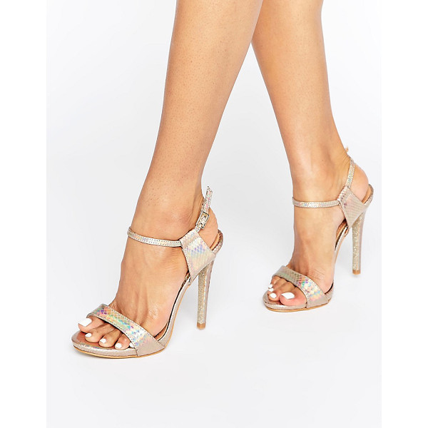 PUBLIC DESIRE Riya Gold Holographic Heeled Sandals - Sandals by Public Desire, Faux-leather upper, Holographic...