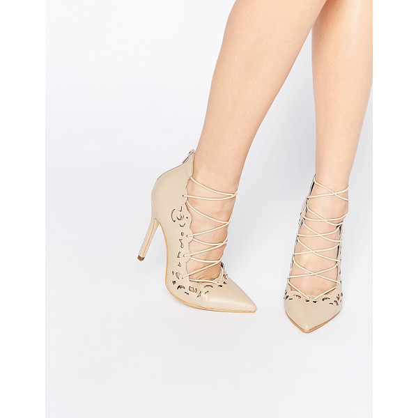 PUBLIC DESIRE Una Nude Lace Up Heeled Shoes - Shoes by Public Desire, Faux leather, Pointed toe, Stiletto...