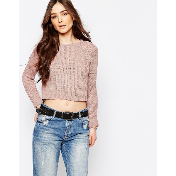 PULL & BEAR Crop Knit Sweater - Sweater by Pull Bear, Chunky ribbed knit, Round neckline,...