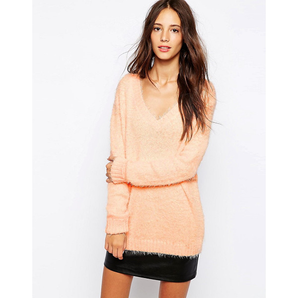 PULL & BEAR Fluffy Sweater - Sweater by Pull Bear, Soft-touch, fluffy knit, V-neckline,...