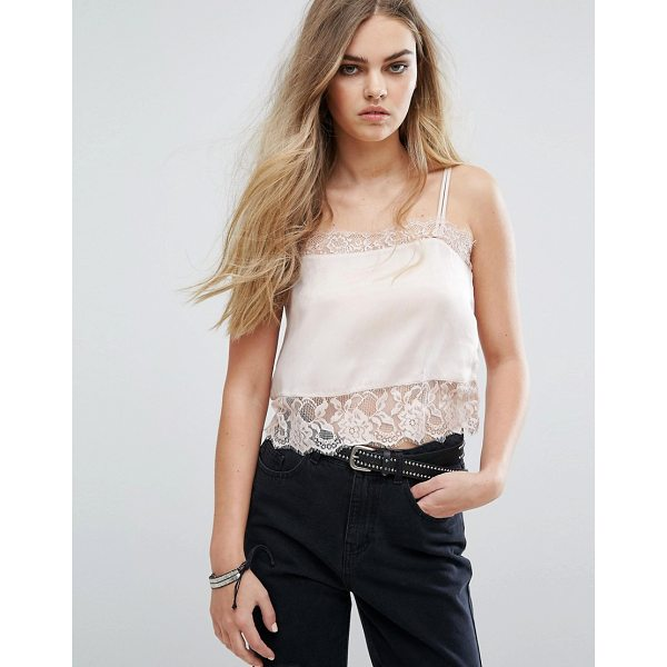 "PULL & BEAR Cami Top With Lace Detail - """"Top by Pull Bear, Lightweight woven fabric, Square neck,..."