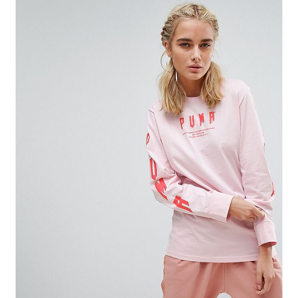 PUMA Exclusive To ASOS Oversized Long Sleeve T-Shirt In Pink - T-shirt by PUMA, Soft-touch cotton jersey, Crew neck, Long...