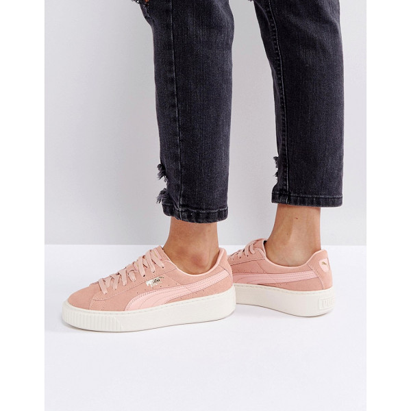PUMA Suede Platform Sneaker In Pink - Sneakers by Puma, Suede upper, Lace-up fastening, Branded...