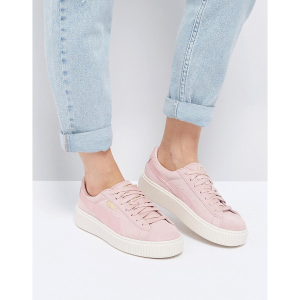 PUMA Suede Satin Platform Sneakers in Pink - Sneakers by PUMA, Leather upper, Lace-up design, Branded...