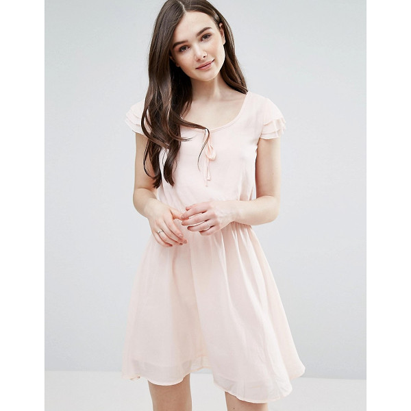 """PUSSYCAT LONDON Skater Dress With Tie Detail - """"""""Dress by Pussycat London, Lined chiffon, Scoop neck,..."""