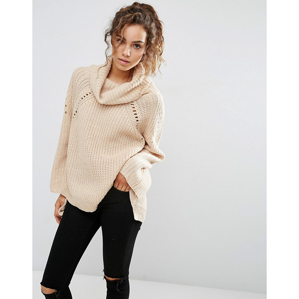 QED LONDON Chunky knit high neck sweater - Sweater by QED, Soft-touch chunky knit, Roll neckline, Open...