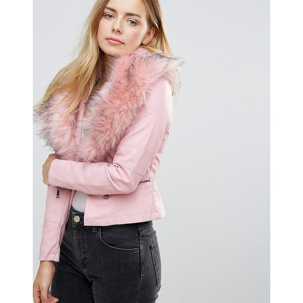 QED LONDON Jacket With Faux Fur Collar - Jacket by QED London, Faux-leather outer, Faux-fur collar,...