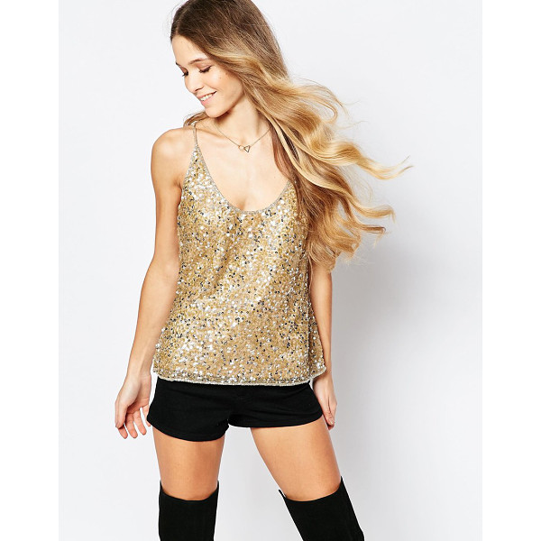 RAGA Embellished gold tank top - Top by Raga Lined mesh Heavily embellished design Scoop...