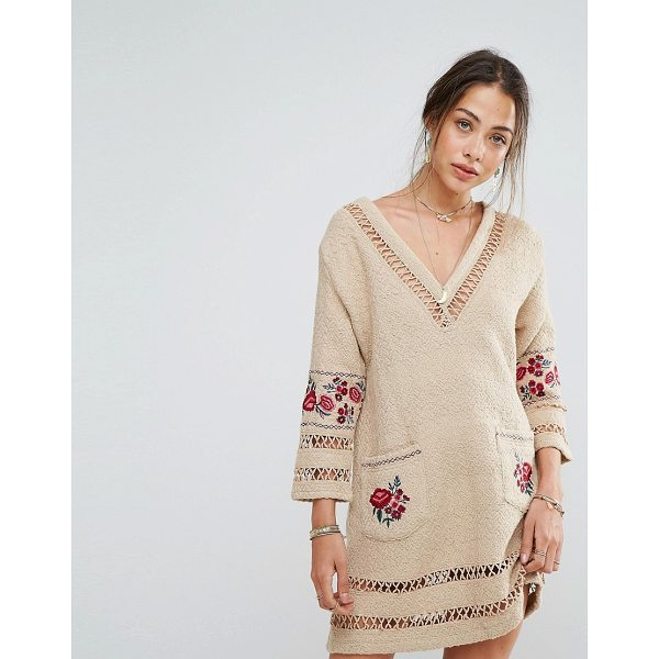 RAHI CALI Ambrosia Traveler Dress - Dress by RahiCali, Woven cotton, V-neck, Floral embroidery,