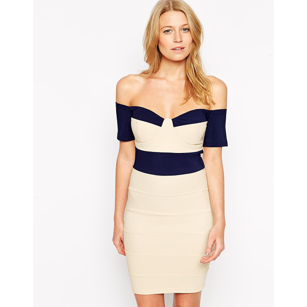 RARE Bardot bandage dress with contrast panels - Evening dress by Rare Lightly textured fabric Light cup...