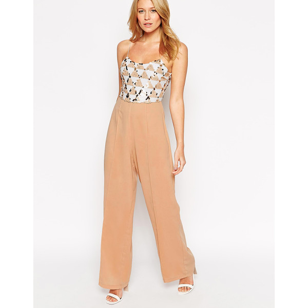 RARE Jumpsuit with sequin top - Jumpsuit by Rare Lined woven fabric Sequinned mesh top...