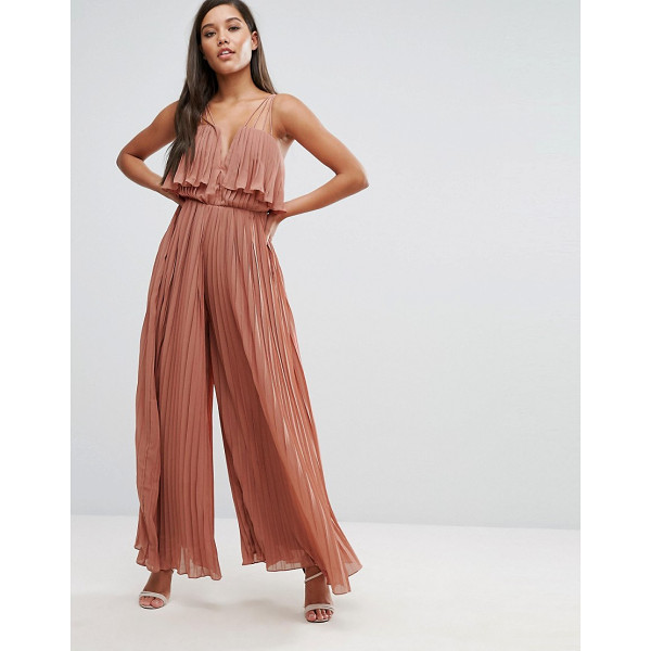 RARE London Pleated Jumpsuit - Jumpsuit by Rare, Pleated fabric, Notch front, Multi-cami...