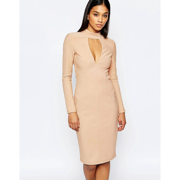 RARE London Plunge High Neck Bodycon Dress - Body-Conscious dress by Rare, Stretch fabric, Fully lined,...