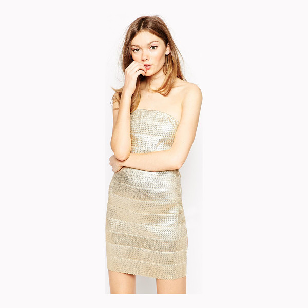 RARE Metallic Bandage Dress - Evening dress by Rare, Stretch fabric, Bandeau design, Zip...