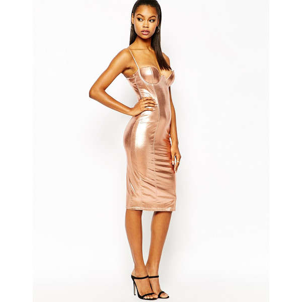 RARE London plunge pencil dress in high shine - Pencil dress by Rare Smooth knitted fabric Metallic, high...