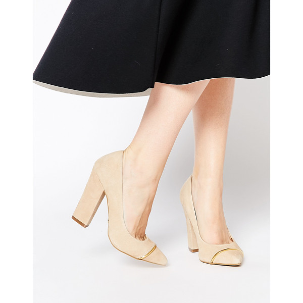 RAVEL Block heeled pumps - Shoes by Ravel, Suede upper, Slip-on design, Gold-tone...