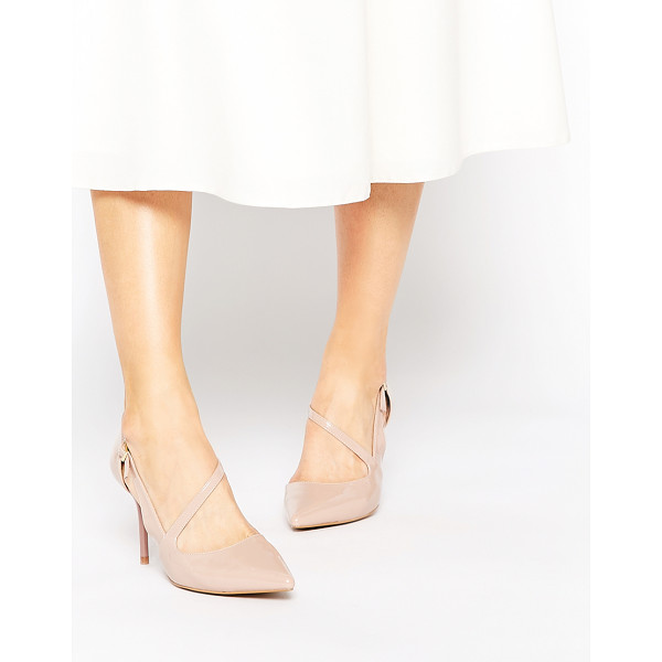 RAVEL Strap Point Heeled Shoes - Shoes by Ravel, Patent leather-look upper, Pin buckle...