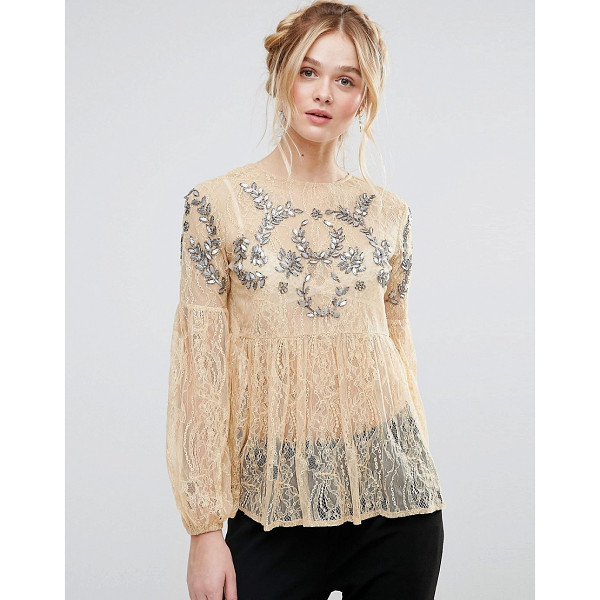 "RD & KOKO Rd & Koko Bell Sleeve Smock Lace Top With Embellished Detail - """"Top by RD Koko, Sheer lace, Crew neck, Sequin and bead..."