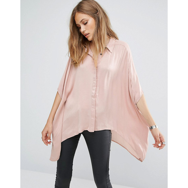 RELIGION Diffuse dip hem shirt - Top by Religion, Lightweight woven fabric, Silky-feel...