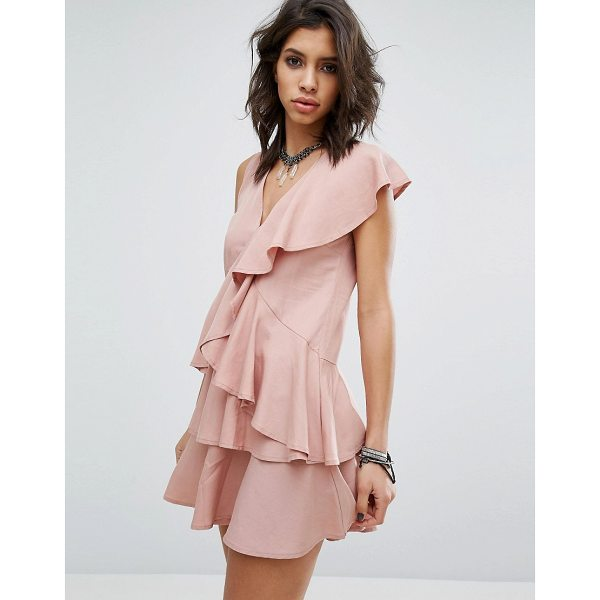 "RELIGION Dress In All Over Ruffles - """"Dress by Religion, Soft-touch woven fabric, V-neck,..."