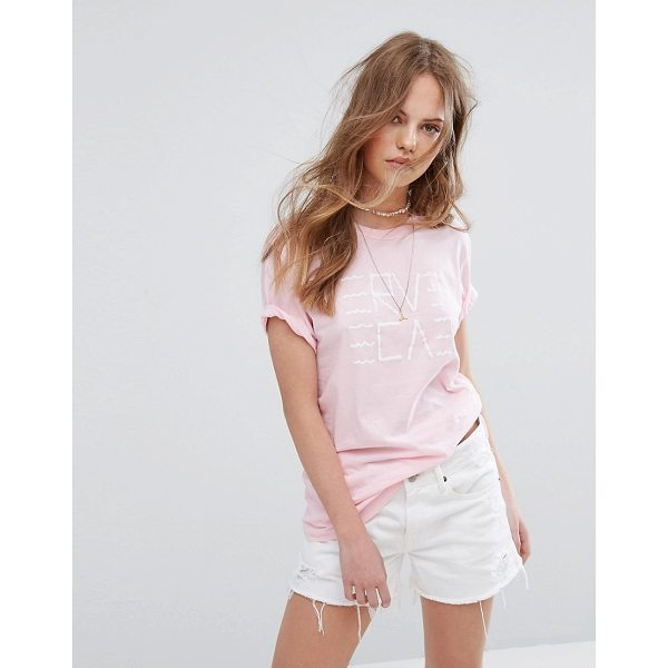 """RVCA Boyfriend T-Shirt With Wavy Graphic - """"""""T-shirt by RVCA, Soft-touch jersey, Crew neck, Printed..."""