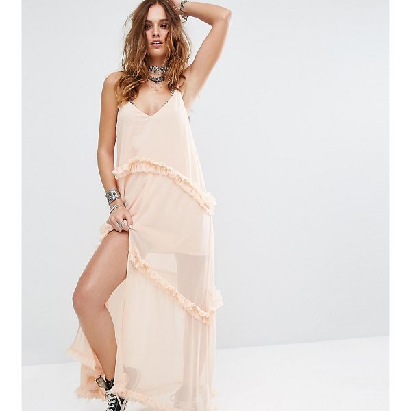 "SACRED HAWK Cami Maxi Dress With Tiered Ruffle Trims - """"Maxi dress by Sacred Hawk, Sheer woven fabric, Mini-dress..."