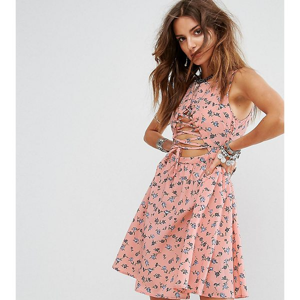 """SACRED HAWK Festival Skater Dress With Lace Up Front In Floral - """"""""Skater dress by Sacred Hawk, Smooth woven fabric, Lace-up..."""