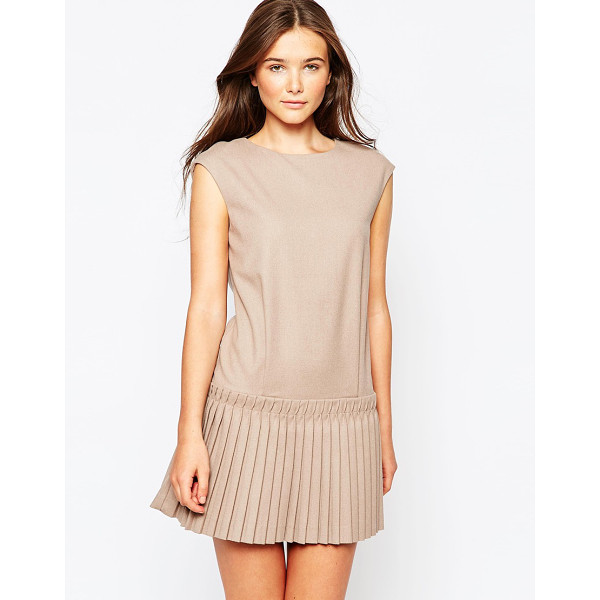 SEE U SOON Dress with drop waist pleated skirt - Dress by See U Soon Soft-touch woven fabric Unlined Round...