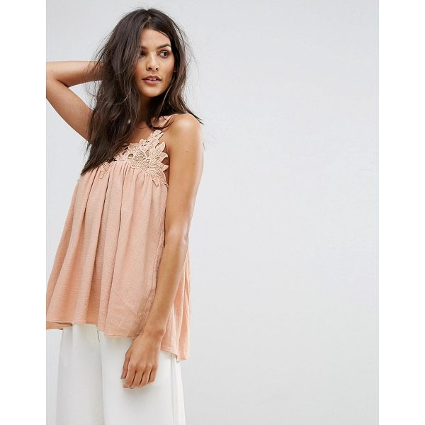"""SEE U SOON Emb Cami Top - """"""""Top by See U Soon, Textured woven fabric, Crochet-lace..."""