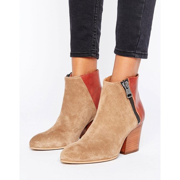 SELECTED Amber Mix Boot - Boots by Selected, Suede upper, Side zip opening, Contrast...