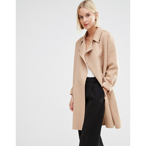 SELECTED Kaia Throw On Wool Coat - Coat by Selected, Wool-mix fabric, Notch lapel collar,...