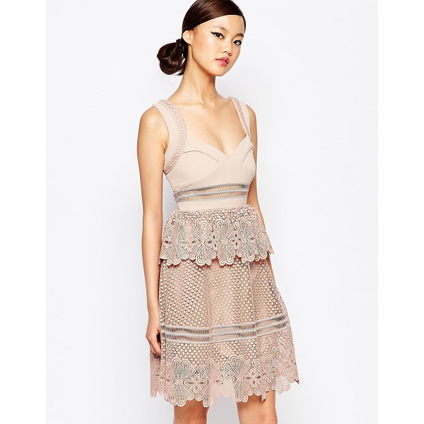 SELF-PORTRAIT Self Potrait Natalia Tiered Dress - Dress by Self Portrait, Lined woven fabric, Lace detailing,...