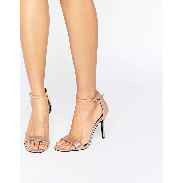 SHOELAB ShoeLab Kitten heel Metallic Sandal - Shoes by ShoeLab, Leather upper, Metallic finish,