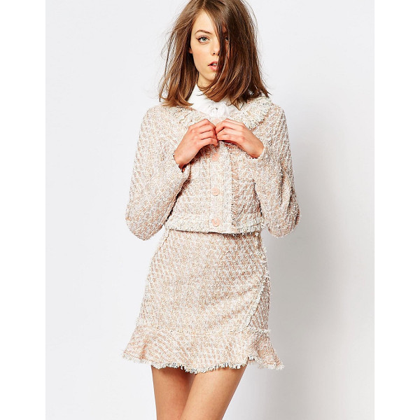 SISTER JANE Sister Jane Pink Lemonade Tweed Crop Jacket Co-Ord - Jacket by sister jane, Unlined tweed, Collarless design,...